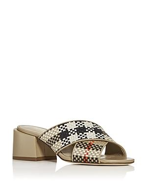 Burberry Women's Castlebar Woven Block-heel Slide Sandals