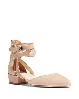 Karen Millen Women's Suede Ankle Strap Ballerina Flats