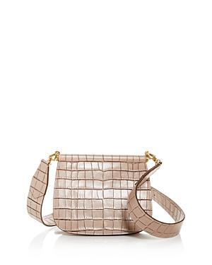 Max Mara Anita Croc-embossed Leather Shoulder Bag