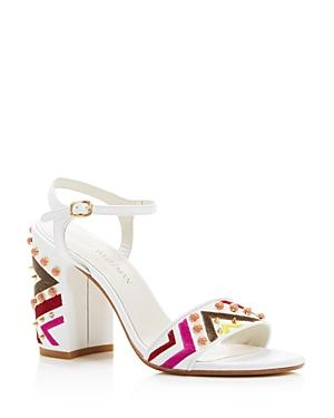 Stuart Weitzman Both Embroidered High Block Heel Sandals