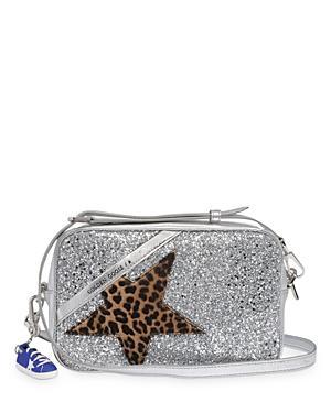 Golden Goose Deluxe Brand Leopard Applique Glitter & Metallic Leather Star Bag