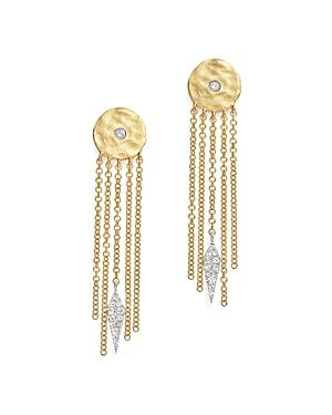 Meira T 14k White And Yellow Gold Disc And Fringe Earrings With Diamonds
