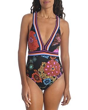 Trina Turk Electric Reef V Neck One Piece Swimsuit