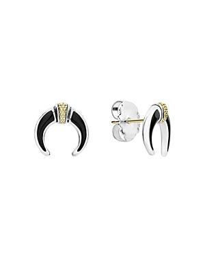 Lagos 18k Gold & Sterling Silver Eclipse Onyx Earrings