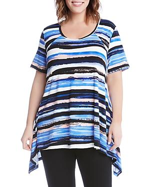 Karen Kane Plus Abstract Stripe Handkerchief Hem Tee