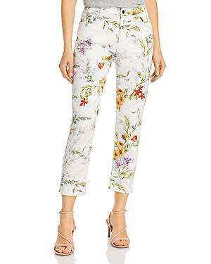 Jen7 By 7 For All Mankind Printed Cropped Skinny Jeans In Sketched Watercolor