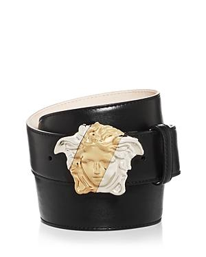 Versace Men's Two-tone Medusa Buckle Leather Belt