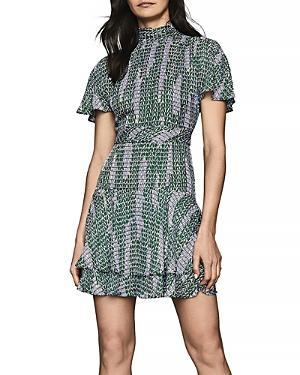 Reiss Natalie Printed Split Sleeve Dress