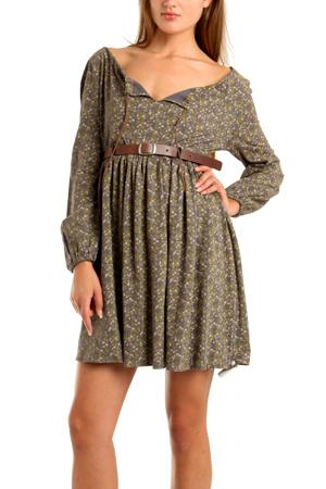 Sophomore Floral Print Belted Dress