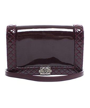 Chanel Pre-owned Chanel Burgundy Patent Small Boy Reverso Bag