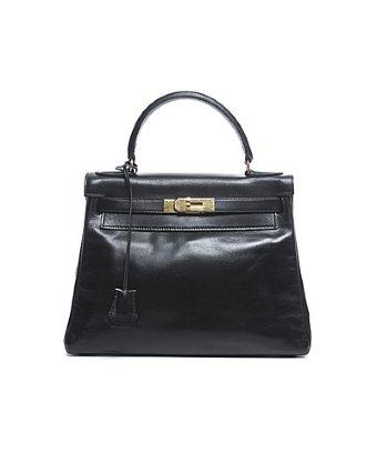 Hermes Pre-owned Hermes Black Box Calf Vintage Kelly 28 Bag