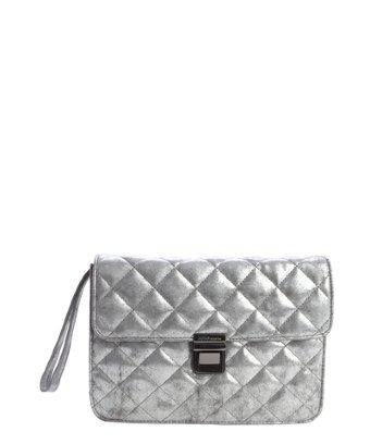 Bcbgeneration Silver Faux Leather 'mason The Clueless' Wristlet