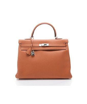 Hermes Pre-owned Hermes Orange Togo Kelly 35 Cm Bag