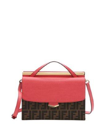 Fendi Ecstasy Leather And Tobacco Zucca Canvas 'demi Jour' Large Split Shoulder Bag