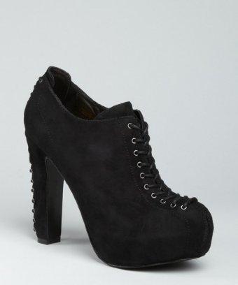 Pour la Victoire black suede 'Agalia' lace-up platform booties