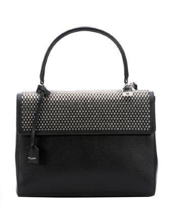 Saint Laurent Black Leather Studded Medium 'moujik' Convertible Top Handle Bag