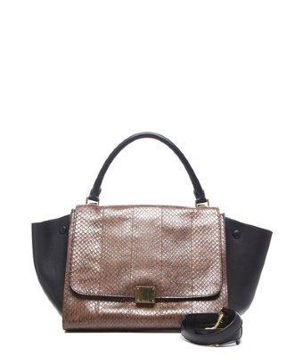 Celine Pre-owned Celine Brown Python Black Leather Trapeze Bag