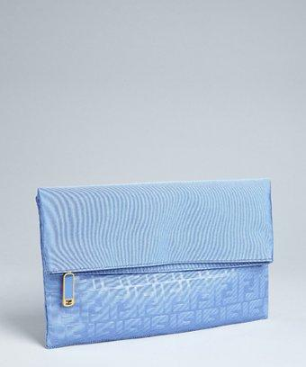 Fendi dusty blue zucca faille fold over oversize clutch