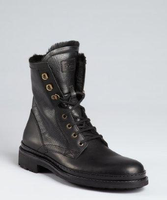 Hugo Boss Boss Hugo Boss Black Leather And Faux Fur Lined Combat Boots