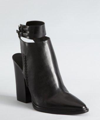 Alexander Wang Black Leather Cuffed Cutout Heel 'dasha' Ankle Boots