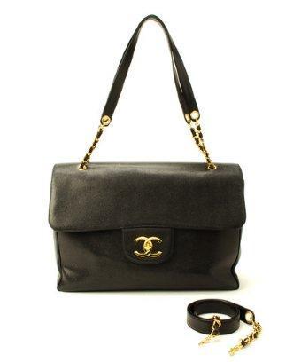 Chanel Black Caviar Leather 'super Model' Vintage Shoulder Bag
