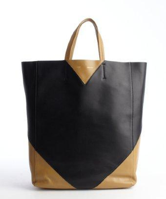 Celine Black And Camel Colorblock Leather Tote Bag
