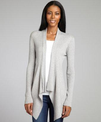 Autumn Cashmere Sweatshirt Grey Rib Cotton Drape Front Cardigan Sweater