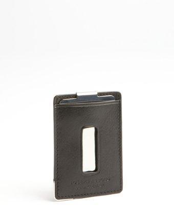 Joseph Abboud Black Leather And Metal Money Clip Wallet