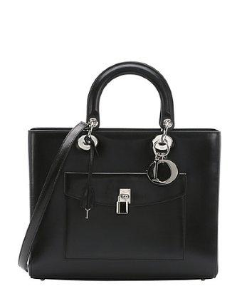 Christian Dior Pre-owned: Black Leather 'lady Dior' Convertible Top Handle Bag