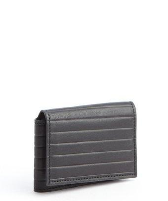 Joseph Abboud Black Stripe Embossed Leather Flip Passcase Wallet