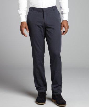 Shades Of Grey Navy Pinstripe Cotton Flat Front Pants