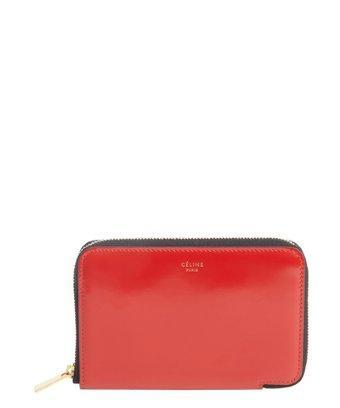 Celine Bright Red Smooth Leather Small Zip Around Wallet