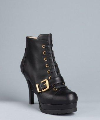 Fendi Black Leather Lace Up Buckle Booties