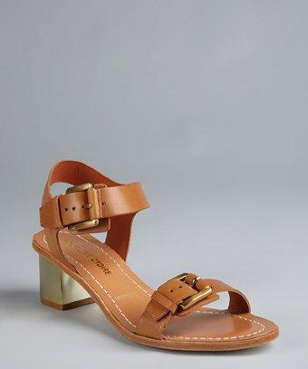 Pour La Victoire Saddle Brown Leather Stacked Heel 'ilissa' Buckle Sandals