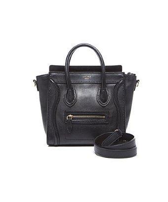 Celine Pre-owned Celine Black Calfskin Nano Luggage Tote Bag