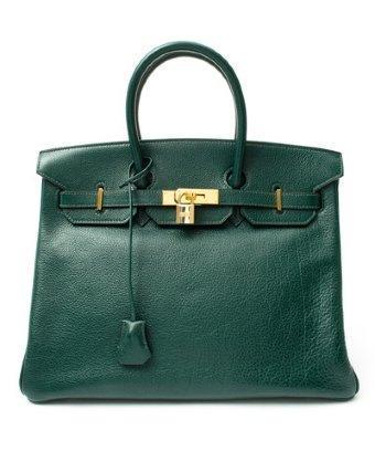 Hermes Green Leather 'birkin 35' Vintage Large Satchel
