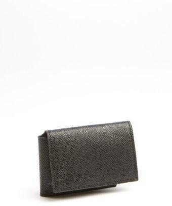 Joseph Abboud Black Caviar Leather Flap Pocket Wallet