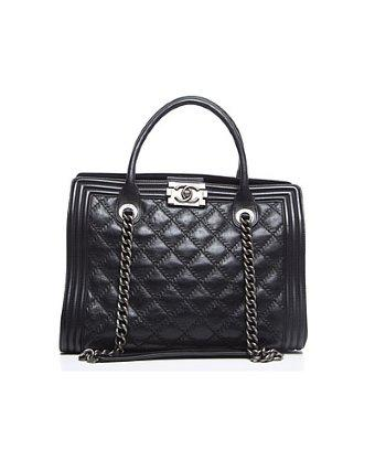 Chanel Pre-owned Chanel Black Lambskin Boy Shopping Tote Bag