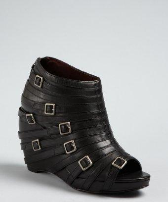 Botkier Black Leather 'val' Buckle Detail Wedge Booties