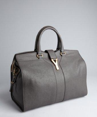 Yves Saint Laurent Dark Grey Leather 'cabas Chyc' Tote
