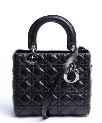 Christian Dior Black Cannage Lambskin 'lady Dior' Top Handle Bag