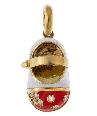 Aaron Basha Aaron Basha 18k Gold 3.3 Dwt Diamonds Flower Strap Shoe Charm