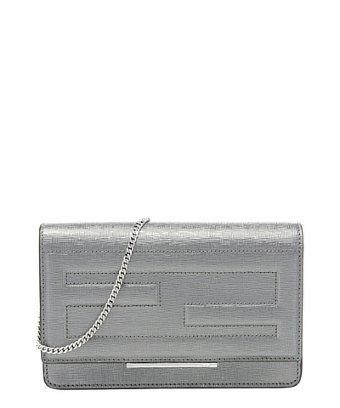 Fendi Silver Leather Logo Tubed Convertible Chain Shoulder Bag