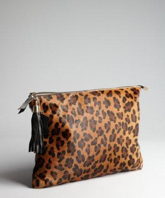 Wyatt Leopard Print Calf Hair Oversized Zipped Clutch