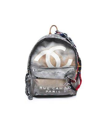 Chanel Pre-owned Chanel Runway Grey Graffiti Backpack