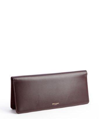 Saint Laurent Maroon Leather Document Case Clutch