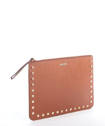 Rebecca Minkoff Chocolate Leather 'lissa Pouch' Studded Clutch