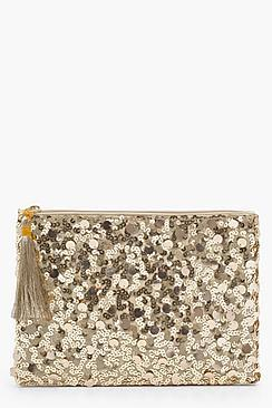 Boohoo Ella Mixed Sequins Ziptop Clutch