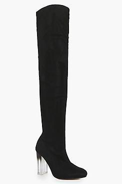 Boohoo Abbie Clear Heel Thigh High Boot