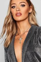 Boohoo Statement Silver Cross Necklace